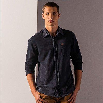 Camisa masculina manga longa em piquet efeito marmorizado avesso - Azul