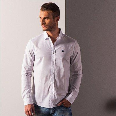 Camisa social manga longa básica masculina de tricoline com elastano - Branco