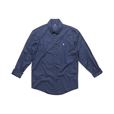 Camisa social manga longa básica masculina de tricoline com elastano - Azul