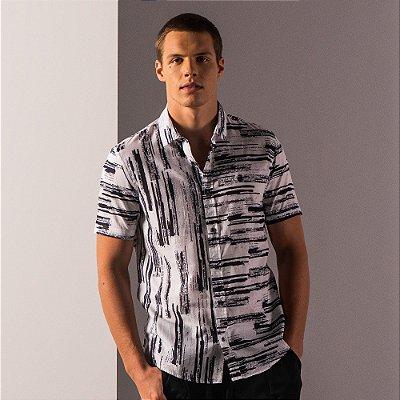 Camisa manga curta estampa de listras - Branco