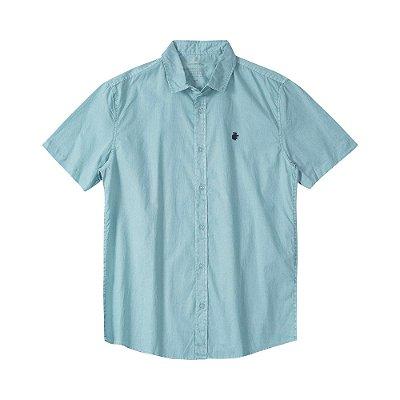 Camisa masculina manga curta de sarja estonada - Turquesa