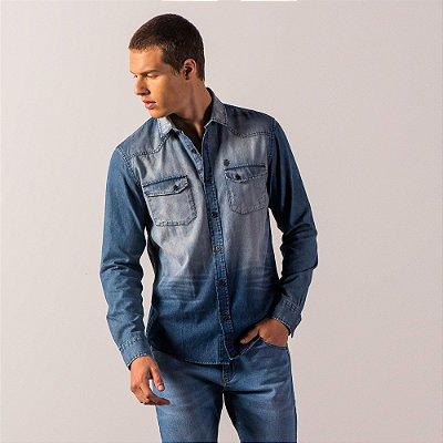 Camisa jeans de manga longa com bolsos e efeito used - Medium Denim