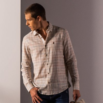 Camisa xadrez masculina de manga longa em tecido flamê - Bege