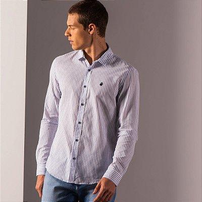 Camisa masculina listrada de manga longa em tecido leve - Branco