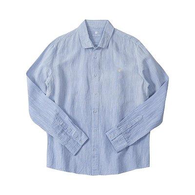 Camisa masculina de manga longa em tecido flamê rústico - Azul