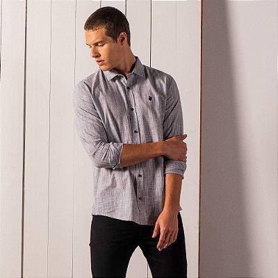 Camisa masculina de manga longa em fio tinto maquinetado - Preto