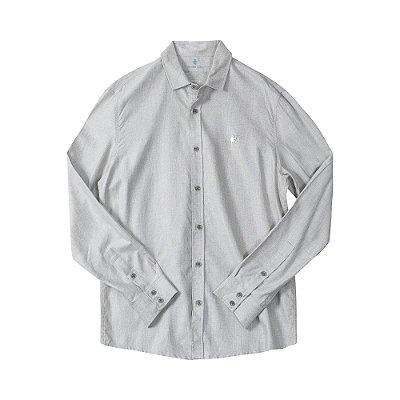 Camisa masculina de manga longa em oxford mescla - Bege