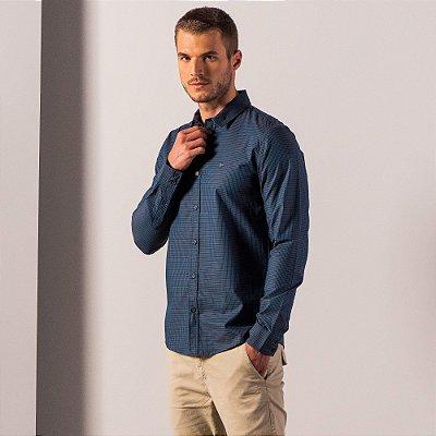 Camisa masculina de manga longa em fio tinto xadrez - Azul