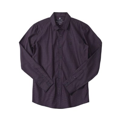Camisa masculina de manga longa em fio tinto xadrez - Preto