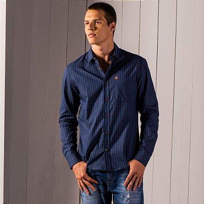 Camisa xadrez masculina de manga longa em tecido fio tinto - Azul