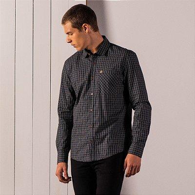Camisa xadrez masculina de manga longa em tecido fio tinto - Preto