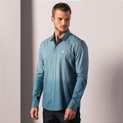 Camisa xadrez masculina de manga longa tricoline com efeito spray - Azul