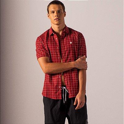 Camisa xadrez masculina de manga curta tricoline fio tinto - Vermelho