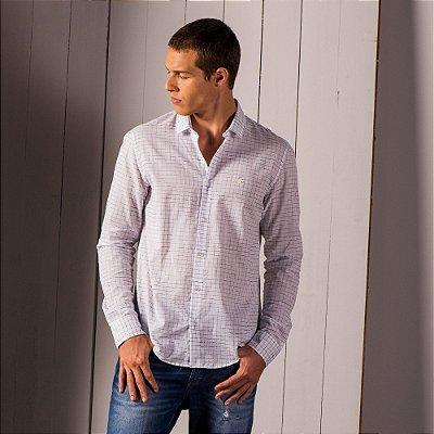 Camisa xadrez masculina de manga longa tricoline fio tinto - Branco
