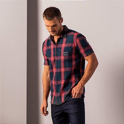 Camisa xadrez masculina de manga curta com bolso - Azul