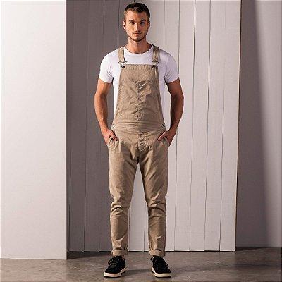 Jardineira masculina em sarja com bolso faca - Marrom