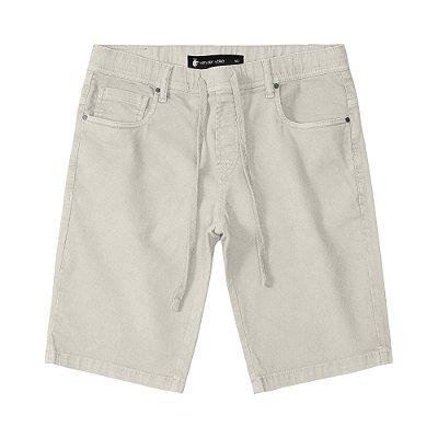Bermuda masculina básica em sarja modelagem slim com amarração - Marrom