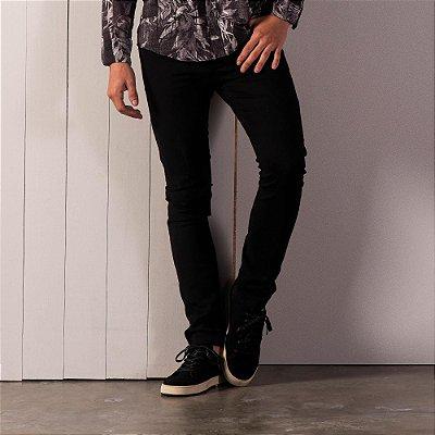 Calça básica masculina de sarja modelagem slim - Preto