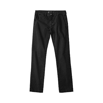 Calça chino básica masculina de sarja modelagem slim - Preto