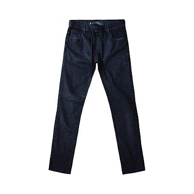 Calça chino básica masculina modelagem slim e cos com elástico - Azul