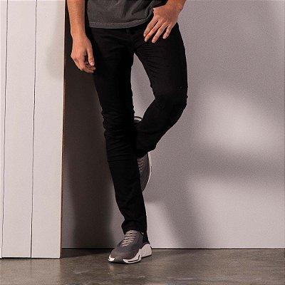 Calça chino básica masculina modelagem slim e cos com elástico - Preto