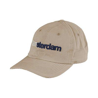Boné flex aba curva bordado relevo do lettering I Am Amsterdam - Marrom