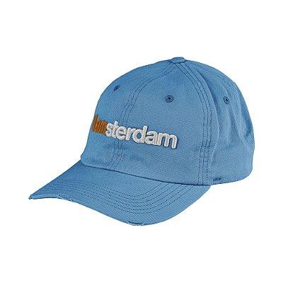 Boné flex aba curva bordado relevo do lettering I Am Amsterdam - Azul