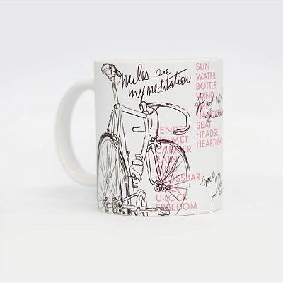 Caneca de café 300ml estampa ilustração bicicleta e lettering Von der Volke - Branco