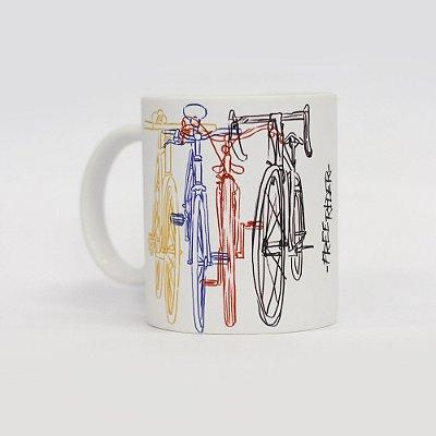 Caneca de café 300ml estampa ilustração bicicletas e lettering Von der Volke - Branco