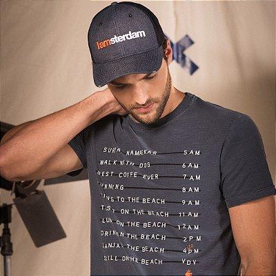 Camiseta masculina em malha flamê estonada estampa lettering - Azul