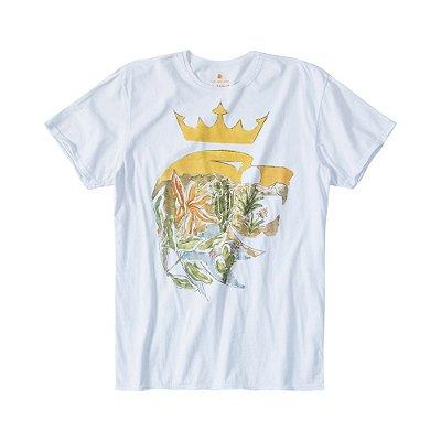 Camiseta masculina de manga curta estampa leão Vøn der Völke e deserto - Branco