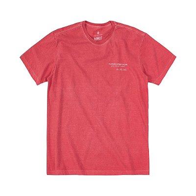 Camiseta masculina estonada estampa Ondas - Vermelho
