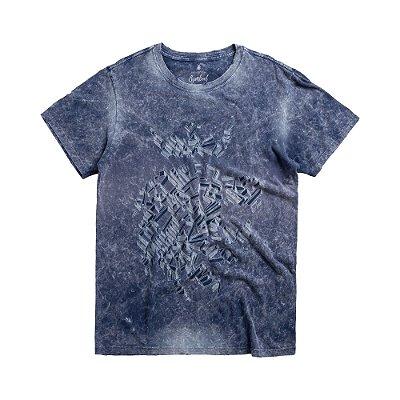 Camiseta manga curta e gola redonda estampa leão Vøn der Völke - Azul