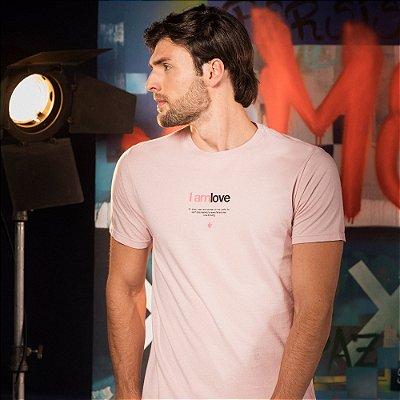 Camiseta masculina manga curta lettering I Am Love - Rosa
