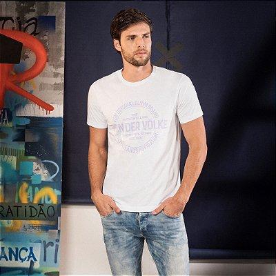 Camiseta masculina manga curta estampa lettering Vøn der Völke - Branco