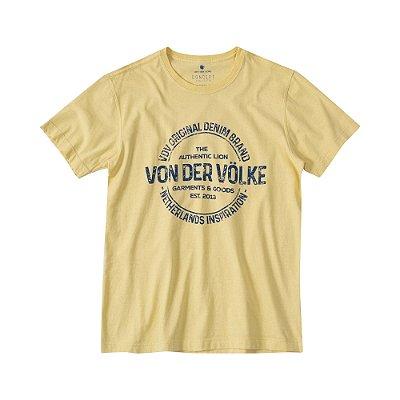 Camiseta masculina manga curta estampa lettering Vøn der Völke - Amarelo