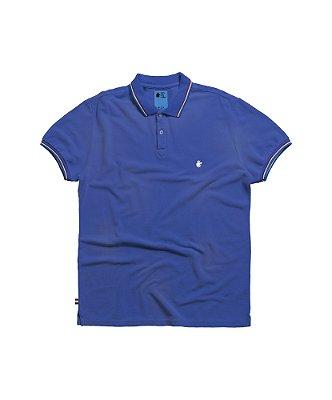 Camisa polo masculina com efeito spray corrosão bandeira Holanda - Azul