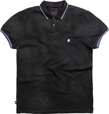 Camisa polo masculina Estonada bandeira Holanda - Preto