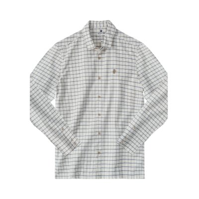Camisa xadrez masculina manga longa tecido fio tinto com leão no peito - Bege