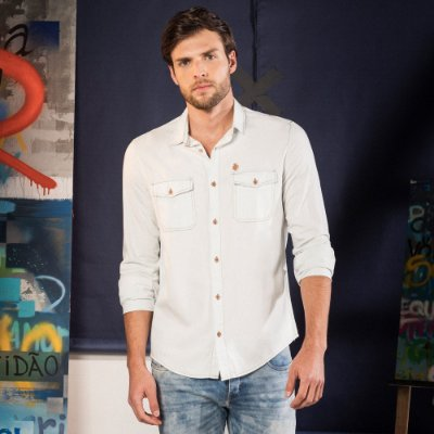 Camisa jeans masculina manga longa bolsos com lapela - Denim