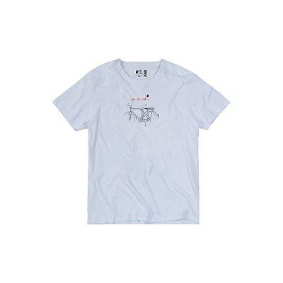 Camiseta Masculina Manga Curta Bike Sketch - Branco