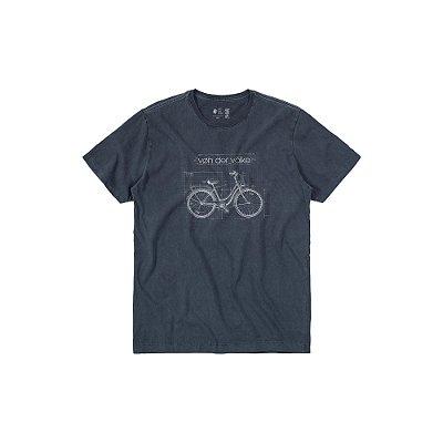 Camiseta de Manga Curta com Estampa de Bicicleta Vintage Geo Bike - Marinho
