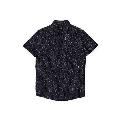 Camisa Masculina Manga Curta Estampa Abstrata Merk - Preto