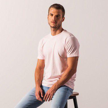Camiseta básica masculina de gola Redonda - Rosa