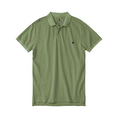 Camisa Polo Masculina Estonada Basis Stone - Verde