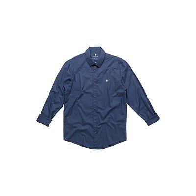 Camisa Masculina Manga Longa Básica com Elastano Basis - Marinho