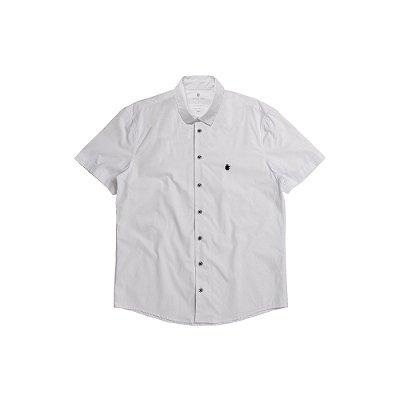Camisa Masculina Manga Curta Básica com Elastano Basis - Branco