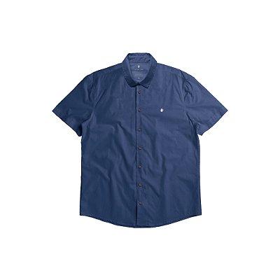 Camisa Masculina Manga Curta Básica com Elastano Basis - Marinho