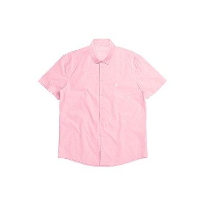 Camisa Masculina Manga Curta Básica com Elastano Basis - Rosa