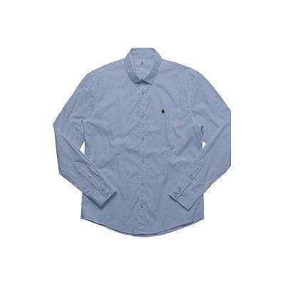 Camisa Masculina Manga Longa em Algodão Basis - Azul